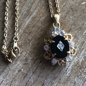 Necklace gold plated authentic stone 🍒